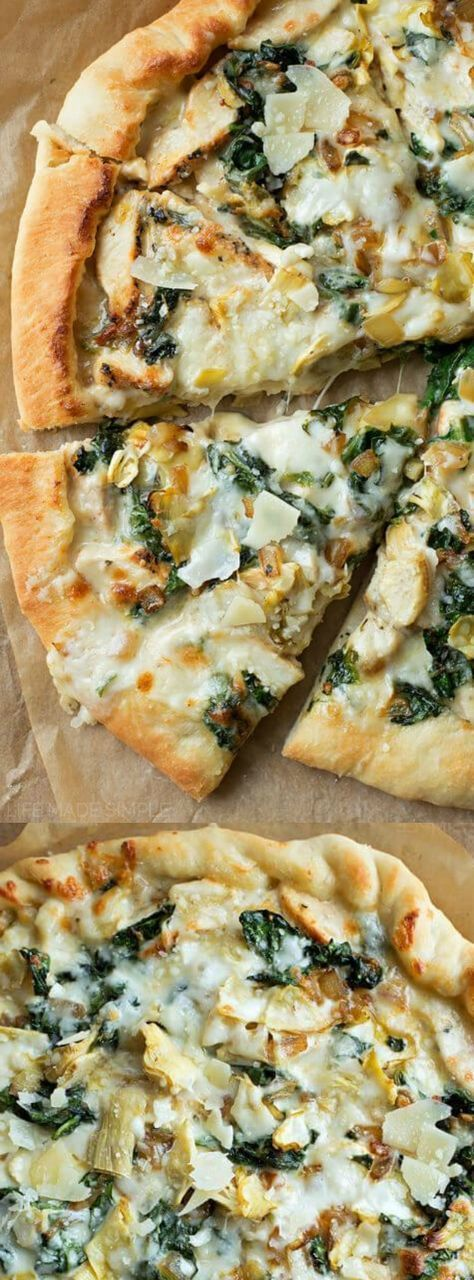 This Spinach Artichoke Pizza from Life Made Simple is the best homemade pizza recipe! It's topped with a creamy garlic white sauce, mozzarella, chicken, spinach, and our favorite — artichokes.