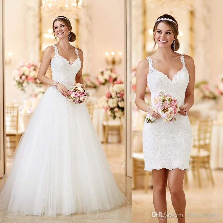 Custom Made 2016 Lace Tulle Spaghetti Straps Zipper See Through Back 2 In 1 Wedding Dresses Detachable\Removable Skirt\Train Plus Size Bridal Gowns Romantic Wedding Dresses From Officesupply, $155.36| Dhgate.Com