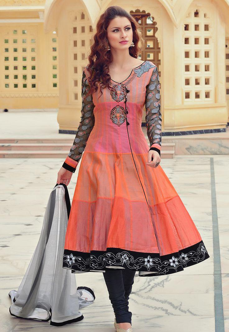 Very Pretty Shaded, in Peaches Chanderi Cotton #Anarkali @ http://www.UtsavFashion.in/