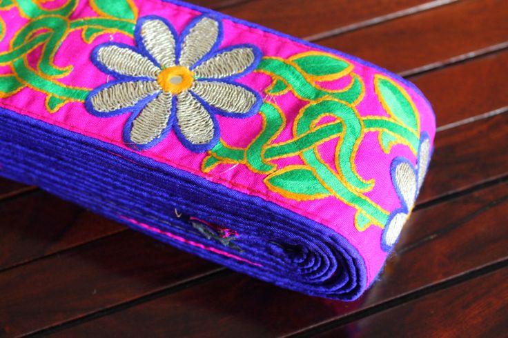 1 YdPink Fabric Embroidered TrimSilk Sari by ArtsyCraftsyShoppe, $11.00