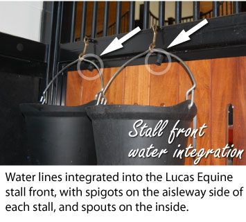 Lucas Equine: stalls with water lines integrated. - At that point, wouldn't you just install automatic waterers? I guess I could see how someone could pose the argument that they don't want automatic so they can monitor how much water the horse drinks BUT they make an automatic waterer that keeps track of that for you. So..boyah!