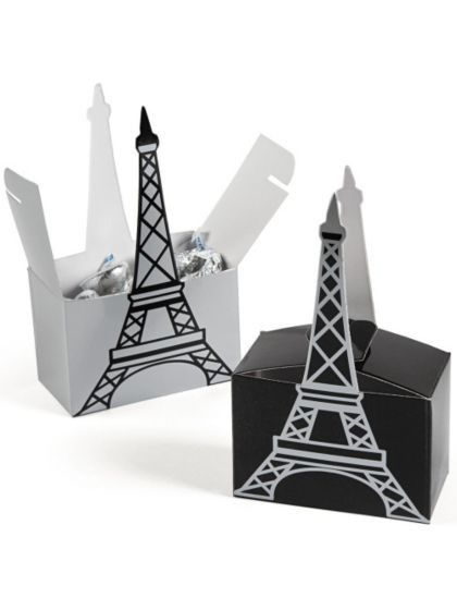 """When attendees of your Parisian party have to go home, send them with some treats in these Paris 5"""" Eiffel Tower Favor Boxes. Comes with 6 treat boxes."""