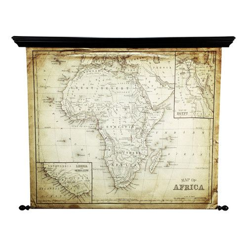 Afrikakarte EXPLORA aus Leinwand in Antikoptik, 126 x 154cm