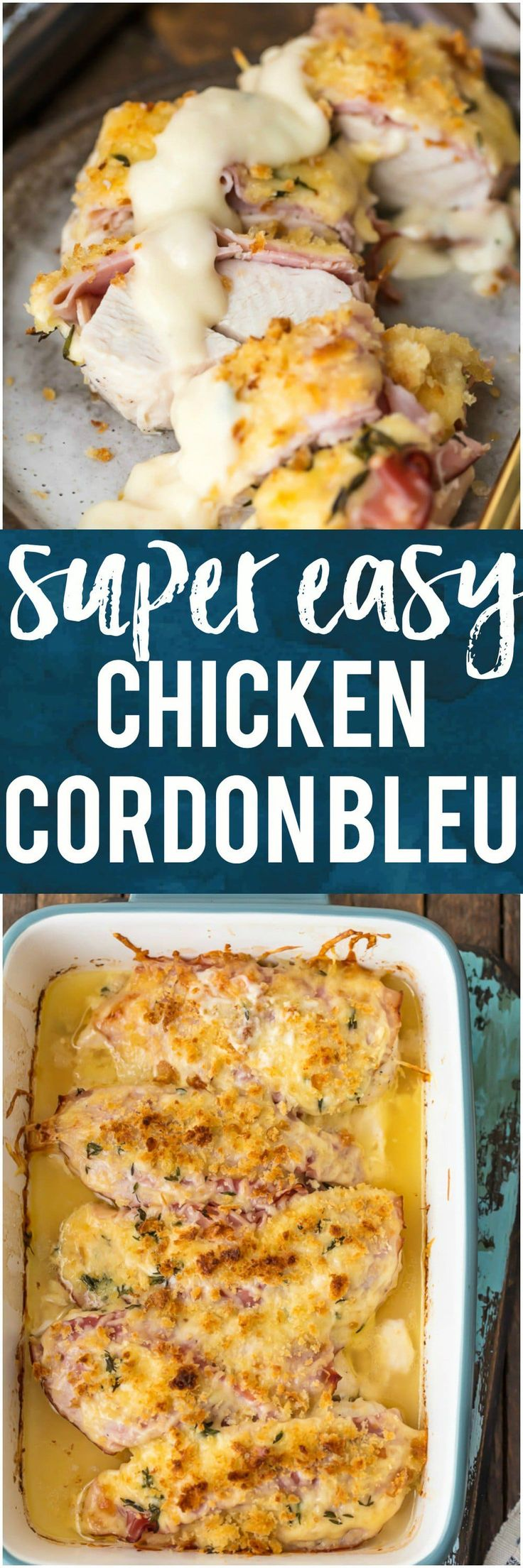 This EASY CHICKEN CORDON BLEU is my favorite recipe for entertaining a crowd. Layers of chicken, ham, cheese, bread crumbs, and delicious white wine dijon sauce. There's no reason to make the fussy version when you have this simple recipe that's just as delicious. #chicken #ham #cheese