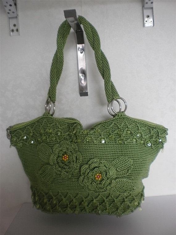 handmade wool crochet handbag Crochet ~Bags Pinterest