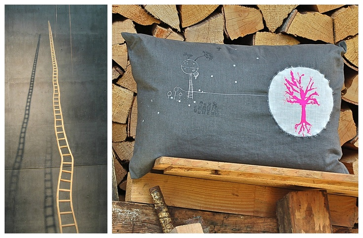 Natural Home Decor Decorative Pillow // Petite Moon charcoal grey & bright pink tree. $55.00, via Etsy. {inspirational picture on the left from :: Martin Puryear's Ladder for Booker T. Washington,}