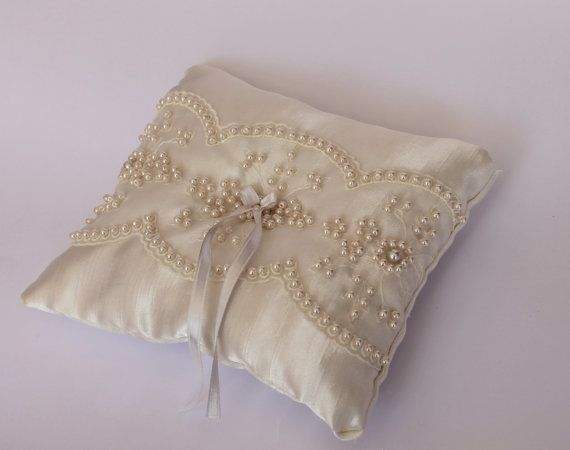 satin pearl ivory ring pillow / wedding decor by cornerofthegarden, $42.00