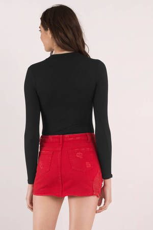 3110a541d9 Red Ripped Denim Skirt - Mid Rise Skirt - Red Distressed Skirt - $72 | Tobi  US