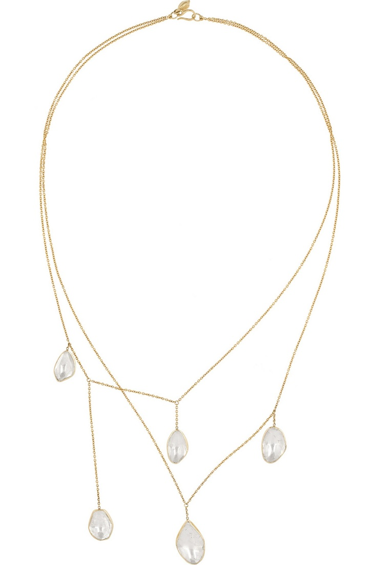 18-karat gold necklace is designed to resemble shimmering drops of water. The 7.05-carat diamond slices are foil-backed for a super-reflective quality.