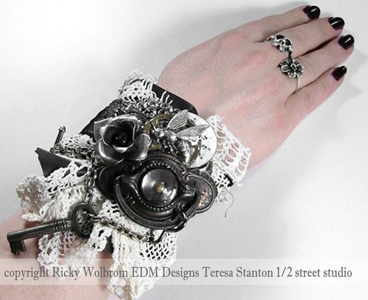 https://flic.kr/p/88YNWV | textile cuff, mixed media wearable art, industrial wrist cuff, steampunk wrist cuff | textile cuff, mixed media wearable art, industrial wrist cuff, steampunk wrist cuff