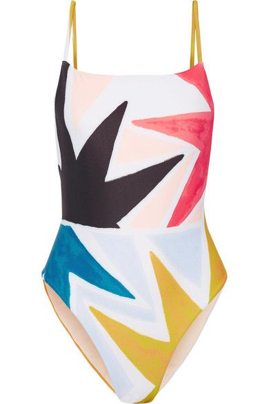 Multicolored polyester-blend Pull on 78% recycled polyester, 22% spandex Hand wash Lotion, sunscreen, oil and chlorine can cause discoloration of this item; this is not a manufacturing defect. Please follow care instructions to keep your swimwear in the best condition