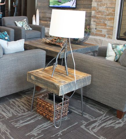 Reclaimed wood side end table hairpin legs night for Plywood table hairpin legs