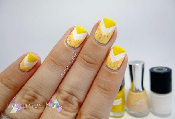 Nail Art Chevron amarillo, ¡un resultado alegre y de tendencia!