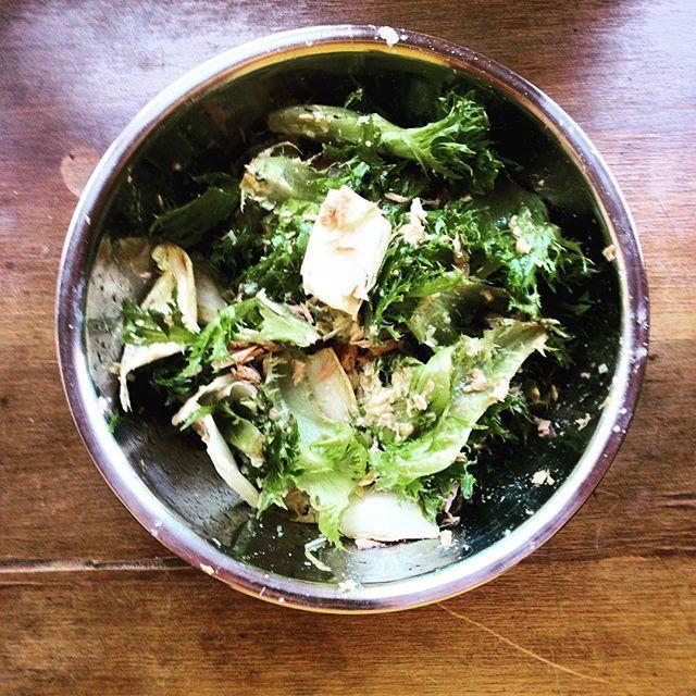 Treino muito bom hoje, Bruno valeu, agora almoço salada de alfaces frisée, endividas, atum com você barrete de framboesa e grana padano.