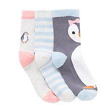Buy John Lewis Girls' Penguin Socks, Pack of 3, Multi Online at johnlewis.com