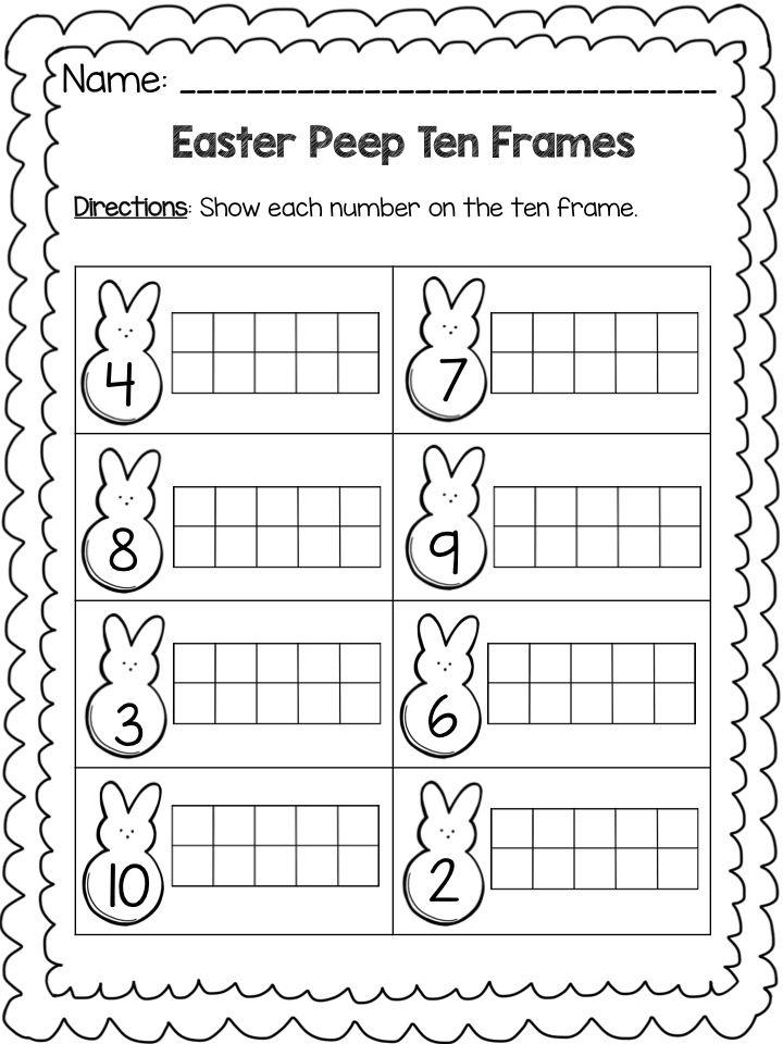 Easter Peep Math Ten Frame Worksheets Ten Frame Free Kindergarten Worksheets Kindergarten Worksheets Printable Free printable worksheets numbers 10