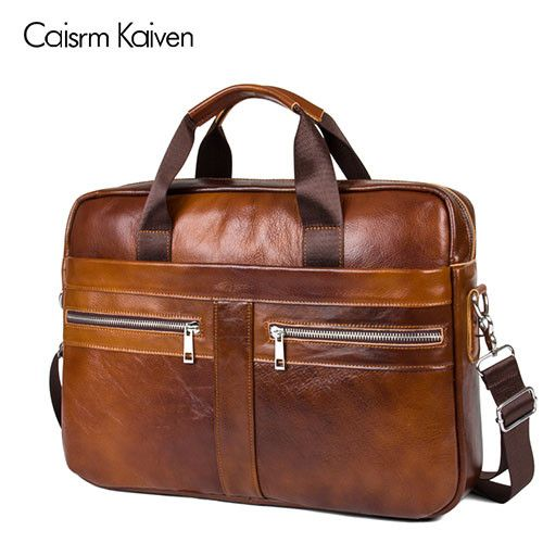 The latest men's leather briefcase computer bag man bag Men's leather shoulder bag handbag free shipping