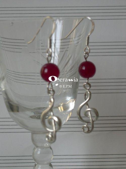 Orecchini AG925 - chiave di violino grande e agata rossa