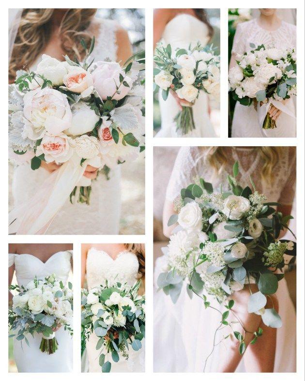 Brautstrauß, Eucalyptus, Weiß Creme Grün, Moder…