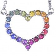 Rainbow Sapphire Necklace Heart Design 925 Sterling Silver (2ct tw)