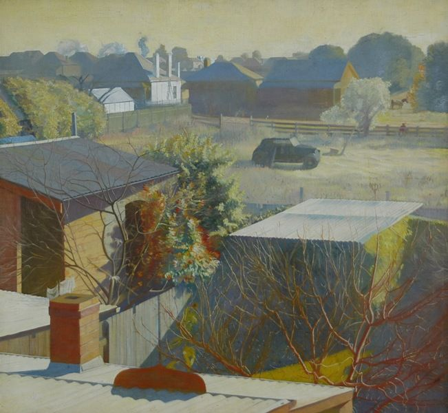 Eric Wilson: Suburban View with Motor Car & Paddock, Liverpool, NSW. My mother knew Eric Wilson when he lived in Liverpool in c.1920s, he showed great promise as an artist before his untimely death in 1946.