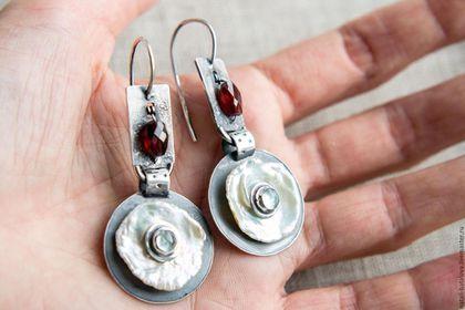 Серьги серебро NACRE - это серьги ручной работы с натуральными природными камнями