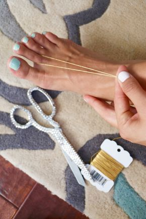 DIY Barefoot Sandals for a Beach Wedding                                                                                                                                                     More