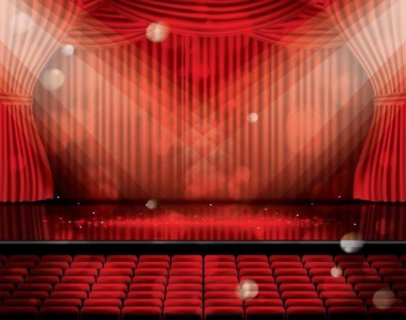 vecteur du rideau de scene et rouge