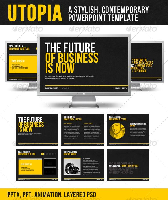 Utopia PPT Template - stylish contemporary, yellow, black, white.