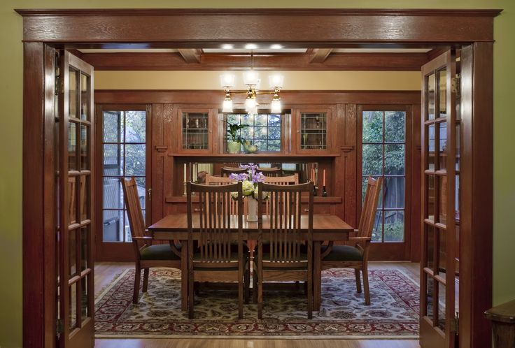 craftsman woodwork - Google Search I love how the doors and wood frame the trees