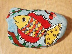 Madhubani Painting Originals - Fish Madhubani Painting by Malu