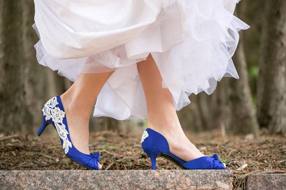 ITS OFFICIAL IM GETTING THESE! Wedding Shoes  Royal Blue Bridal Shoes Blue Wedding by walkinonair, $99.00