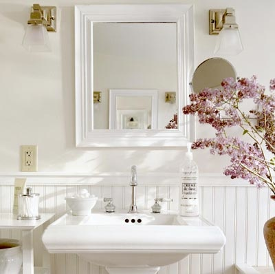 Wall-cladding in a bathroom - an attractive and cheaper alternative to tiles.