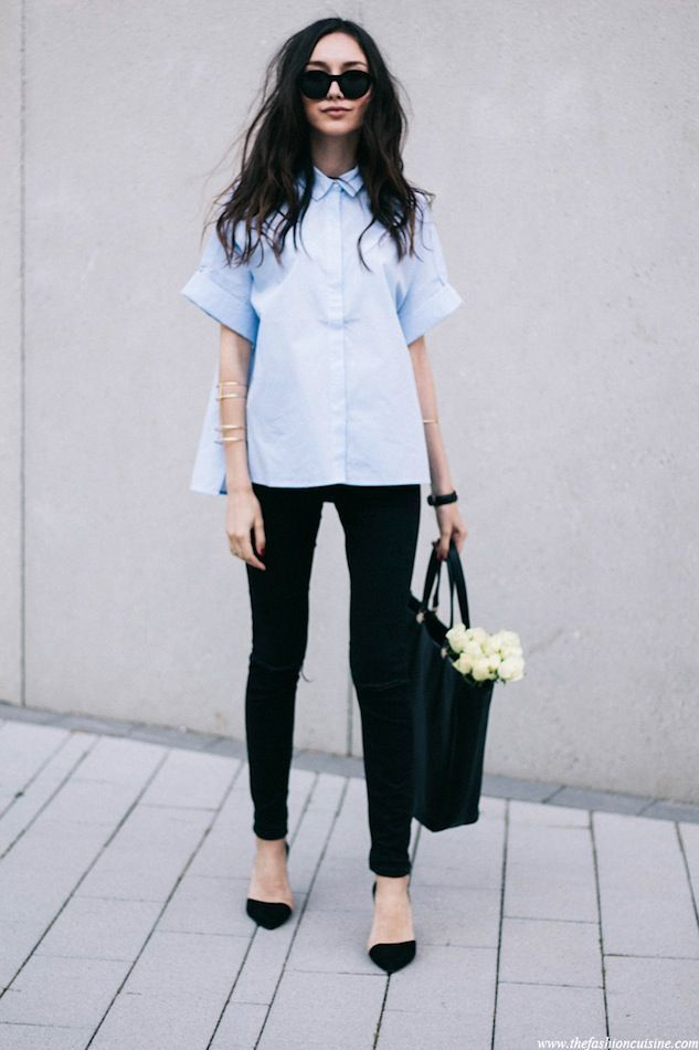 A Polished Yet Edgy Blue Button-Down Look To Try Now
