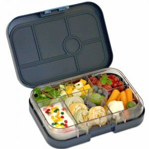 Yumbox is a kid friendly bento box style lunchbox container with a single leakproof lid. Yumbox's pre-portioned illustrated tray guides you in packing a healthy and hassle-free lunch! The tray is divided into five ½ cup portions of the key food groups.