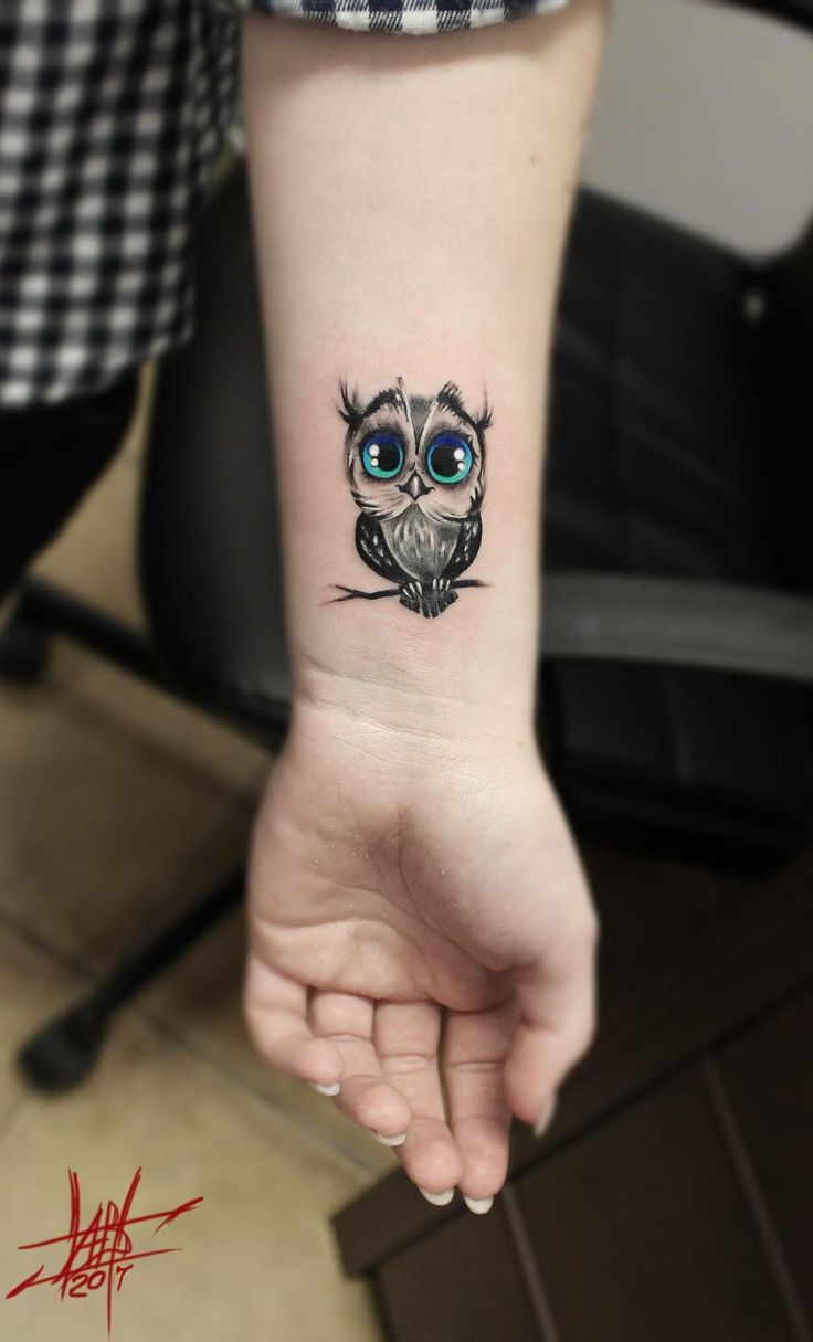 This is the cutest little darn owl  tattoo... Just in a weird spot, unless u get a word underneath and turn into a sleeve....
