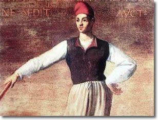 """Tommaso Aniello di Cecco d'Amalfi, detto """"Masaniello"""" nacque a Napoli, in Vico Rotto al Mercato, il 29 giugno 1620. Pescivendolo come il padre, basso di statura, bruno di carnagione, con capelli castani, un piccolo codino, un paio di baffetti, indossava spesso una camicia larga, calzoni di tela e un berretto rosso e camminava sempre scalzo."""