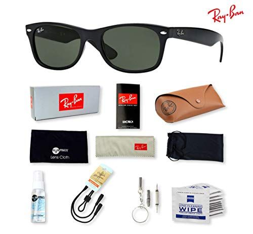 e0c8a570988c Ray Ban RB2132 New Wayfarer Sunglasses for Men and Women with Deluxe  Accessories Ray-Ban New Wayfarer Sunglasses kit. This all-inclusive bundle  includes ...