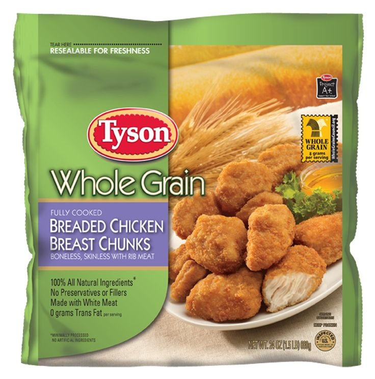 "Whole grain goodness just took on a whole new meaning! Whether topping a salad, tucked into a tortilla, or all by themselves, these Tyson® Fully Cooked Breaded Chicken Breast Chunks are a great addition to any healthy meal. That's because they're made with 8 grams of whole grain breading per serving, 100 percent all natural white meat chicken, with no preservatives or fillers, no trans fat, and minimal processing. Bet you'll be surprised at how many ways your family will say ""Yum!"""