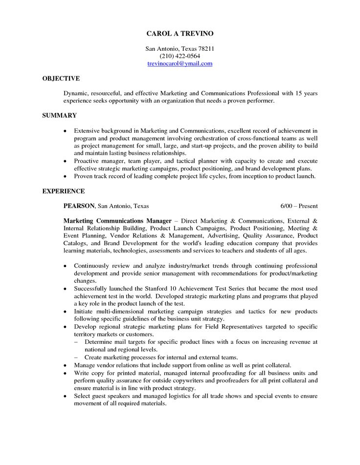 The 25+ best Good resume objectives ideas on Pinterest Career - marketing resume objectives