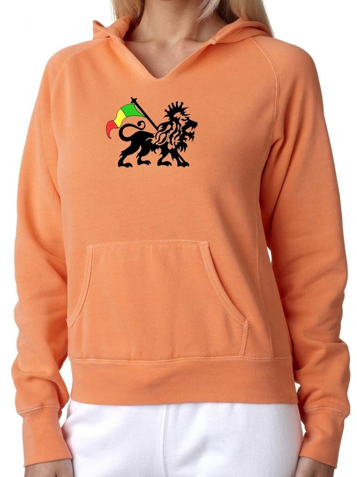 "Ladies RASTA LION Raw-Edge Hoodie Sweatshirt, 2XL Melon Orange. This beautiful, vibrant-colored hoodie features a proud Rasta Lion!. Cozy comfort in amazing colors detailed with fun, distressed raw edges. 80% Ringspun cotton - 20% Polyester. Distressed raw edges on neckline and front pouch pocket. ""Yoga Clothing for You"" guarantees your satisfaction on every purchase!."