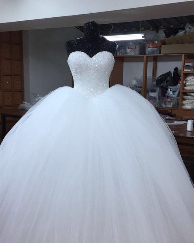 Bling Bling Sweetheart Bodice Corset Tulle Ballgowns Wedding Dress