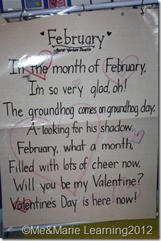 February Song Chart from Me & Marie Learning