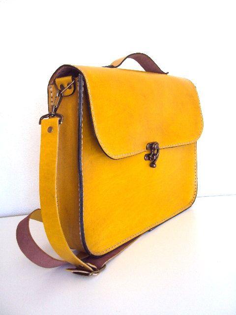 Handmade Laptop Bag Yellow Leather Briefcase Messenger by ammaciyo