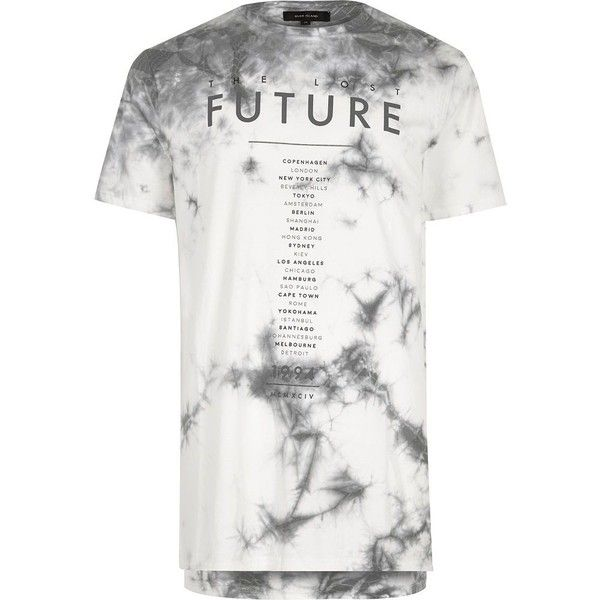 River Island White future print tie dye T-shirt ($23) ❤ liked on Polyvore featuring men's fashion, men's clothing, men's shirts, men's t-shirts, mens cotton t shirts, mens tie dye shirts, mens white crew neck t shirts, mens short sleeve t shirts and mens tall t shirts