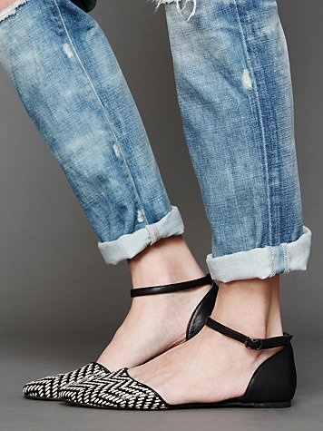 Jeffrey Campbell black and white woven ankle strap flats, $127, freepeople.com