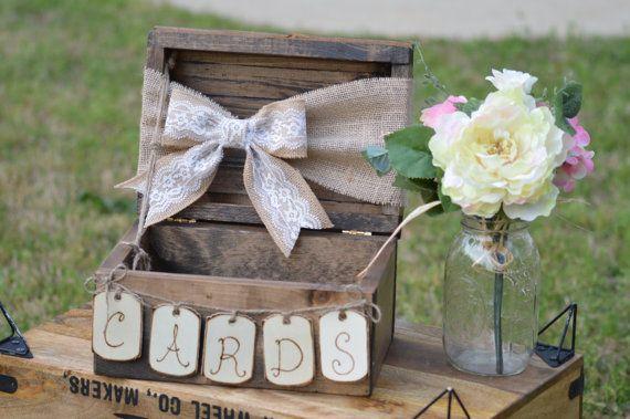 Jute und Spitzen Hochzeit card Box, schäbig schicke Hochzeit Karte Feld, Land-Rezeption