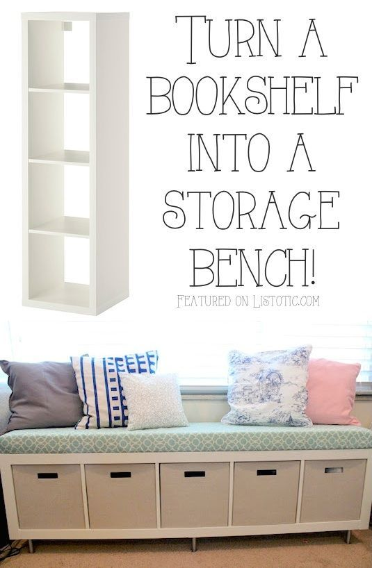 20 Creative Furniture Hacks :: Turn a bookshelf into a cute storage bench! - Perfect for the mudroom