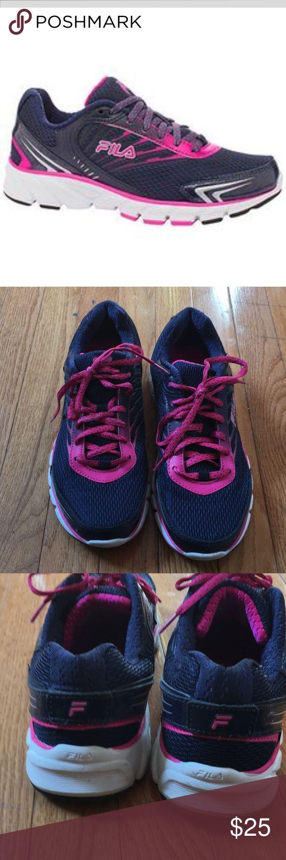 Fila running sneakers Fila women's maranello running shoe. Fila navy/pink glow/white. Comfortable sneakers worn only a few times. Great fit. Fila Shoes Sneakers