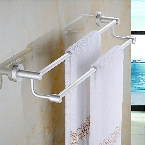 silver double towel bar holder wall mounted bathroom towel rail storage rack towel shelf aluminum alloy